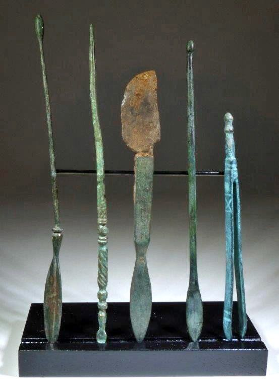 Group of 5 Roman Bronze Medical Implements