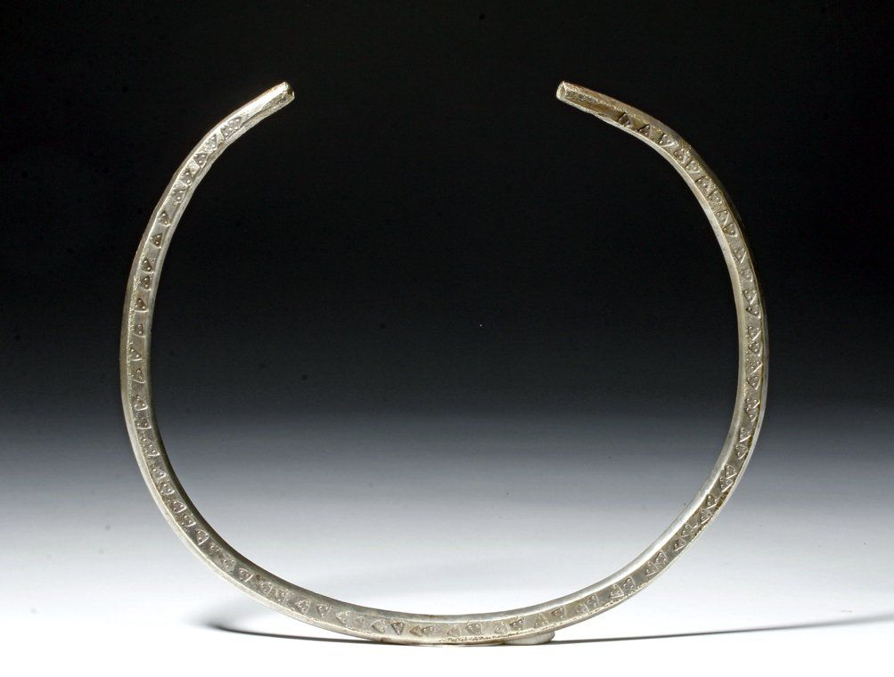 Massive Viking Silver Neck Torque - Stamped Designs