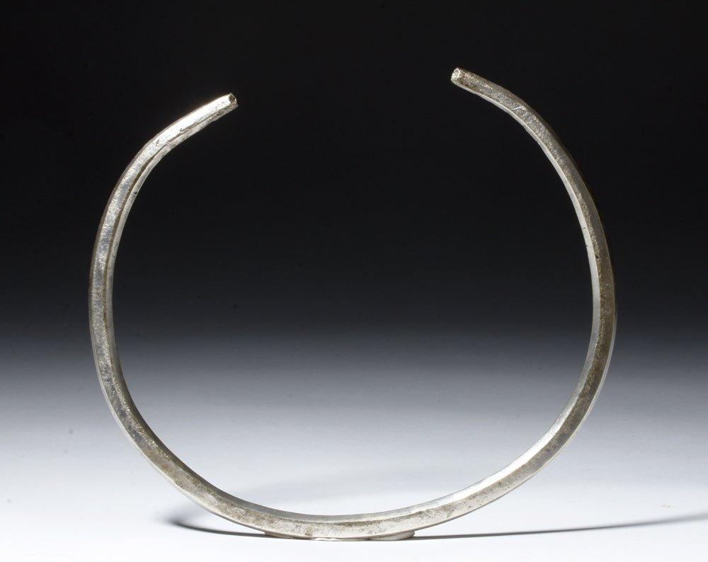 Massive Viking Silver Neck Torque - Stamped Designs - 5