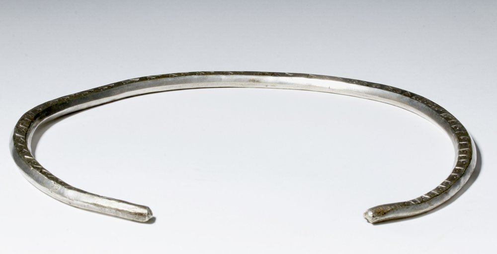 Massive Viking Silver Neck Torque - Stamped Designs - 9