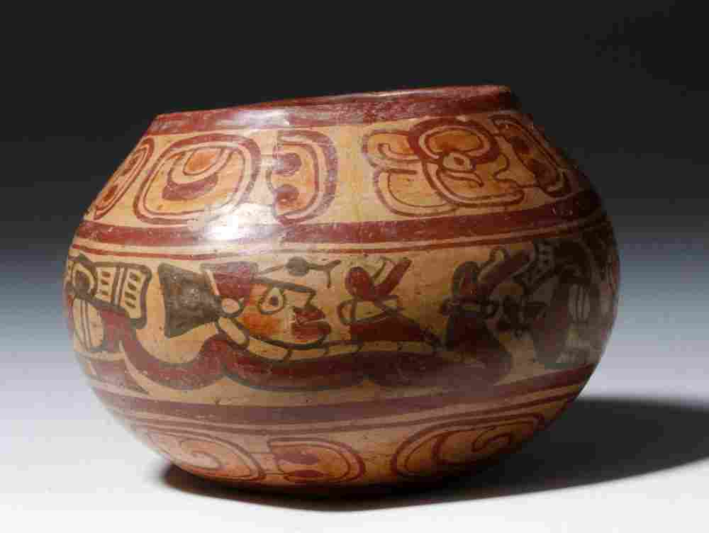 Mayan Copador Polychrome Painted Swimmers Bowl
