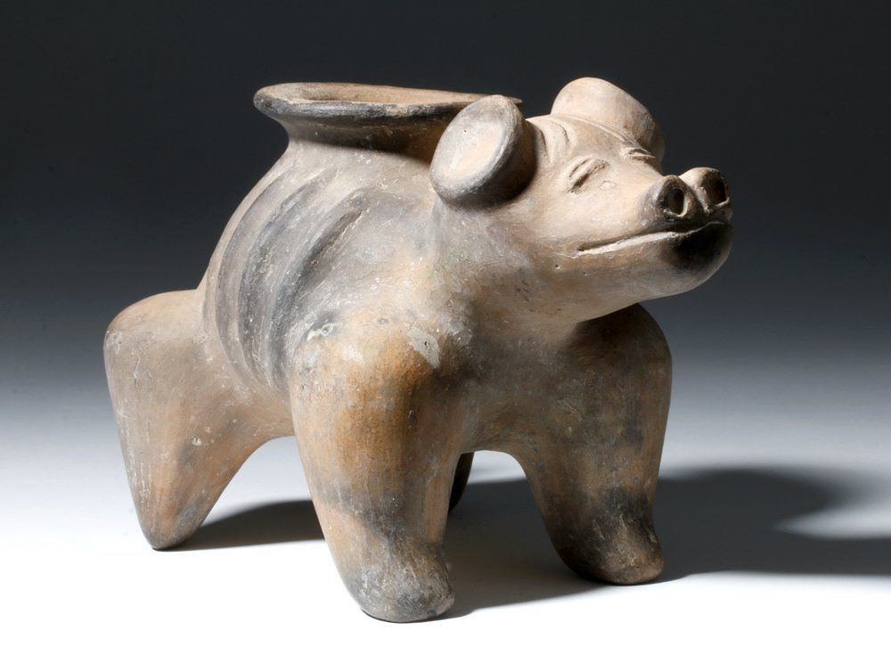 Jalisco Pottery Brown Ware Dog with Exposed Ribs