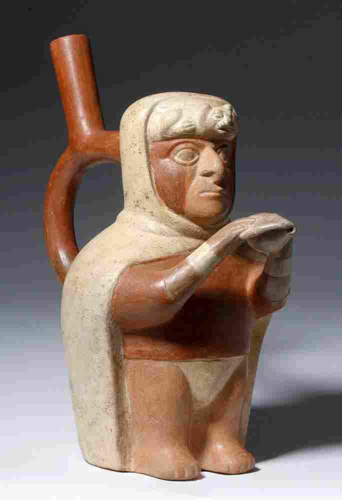 Very Fine Moche Polychrome Stirrup Vessel, Trumpeter