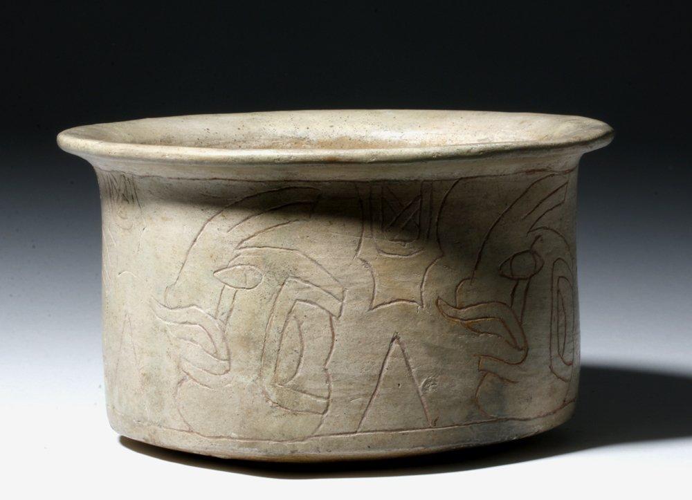 Rare Olmec White Slipped Engraved Vessel