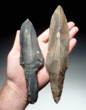 Pair Of Large Mayan Flaked Chert Macroblade Daggers