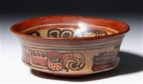 Mayan Copador Pottery Bowl  Parrots  Felines