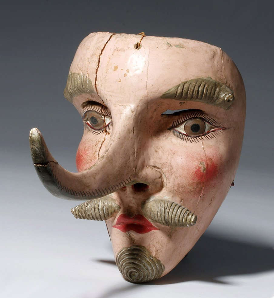 1940s Mexican Festival Mask Long-Nosed Dandy
