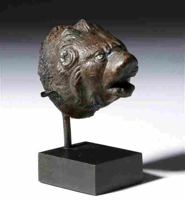 Roman Bronze Lion Applique w/ Inlaid Silver Eyes