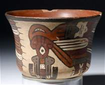 Nazca Polychrome Kero Horrible Bird Motif exMuseum