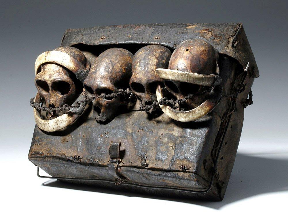 19th C. Naga Leather Headhunter's Bag w/ Monkey Skulls