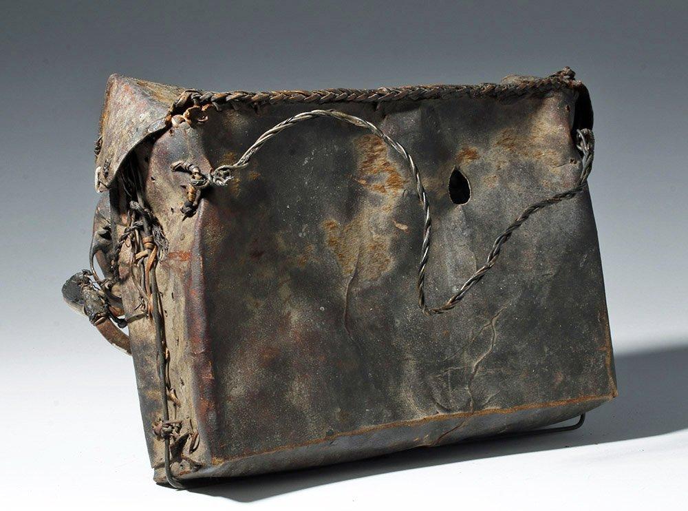 19th C. Naga Leather Headhunter's Bag w/ Monkey Skulls - 3