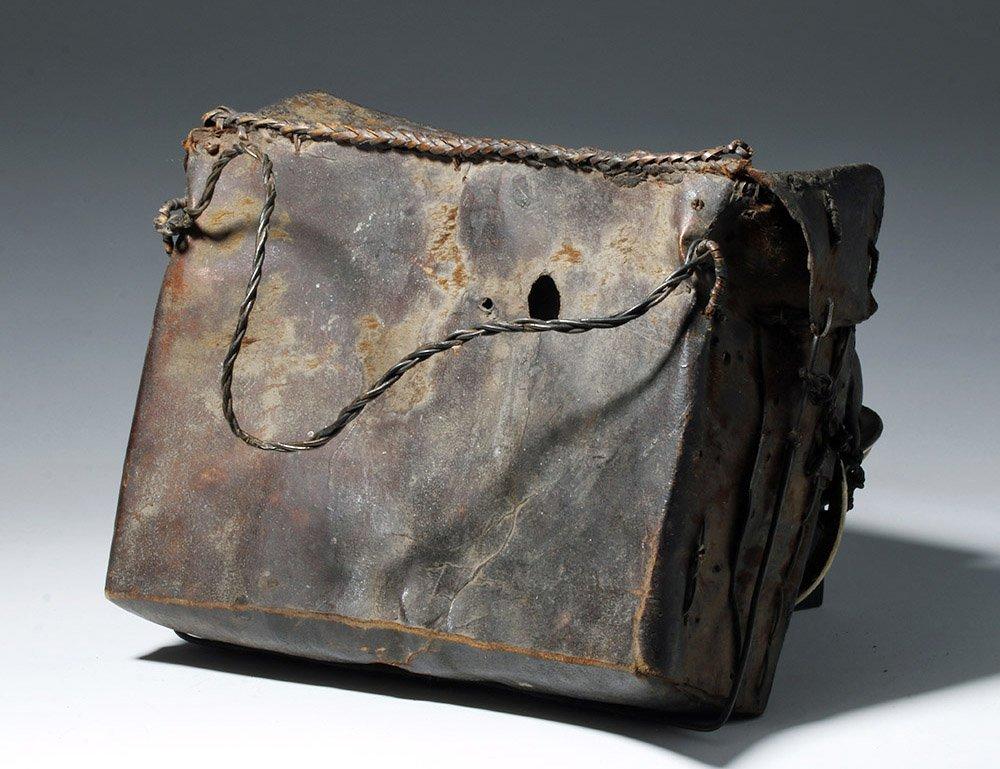 19th C. Naga Leather Headhunter's Bag w/ Monkey Skulls - 4
