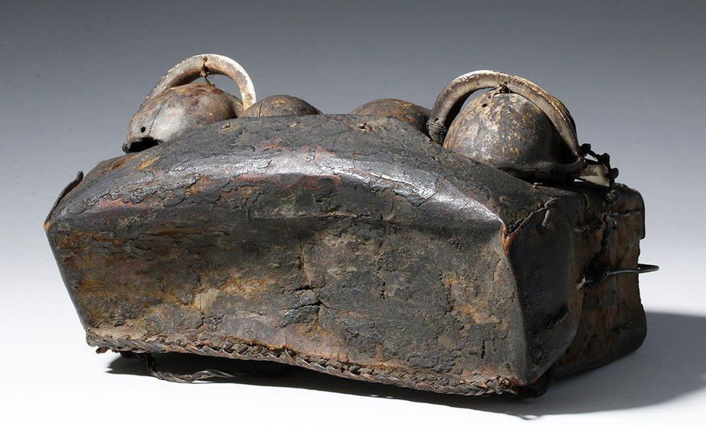 19th C. Naga Leather Headhunter's Bag w/ Monkey Skulls - 7
