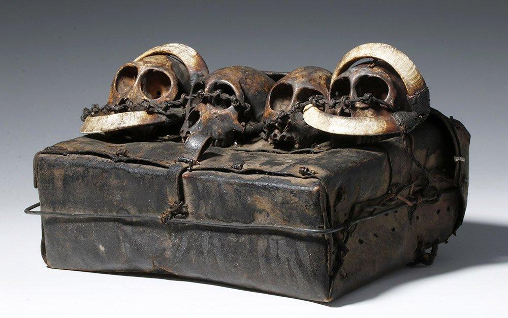 19th C. Naga Leather Headhunter's Bag w/ Monkey Skulls - 8