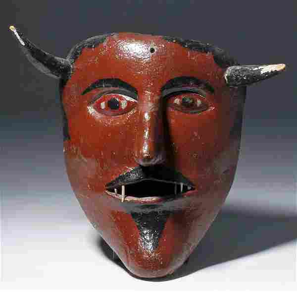 20th C. Mexican Painted Wood Dance Mask - Devil