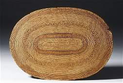 19th C. NW Coast Tlingit Polychrome Woven Oval Mat