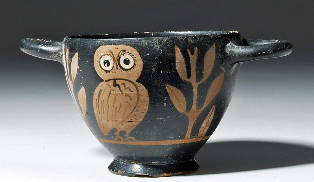 Greek Attic Red-Figure Owl Skyphos