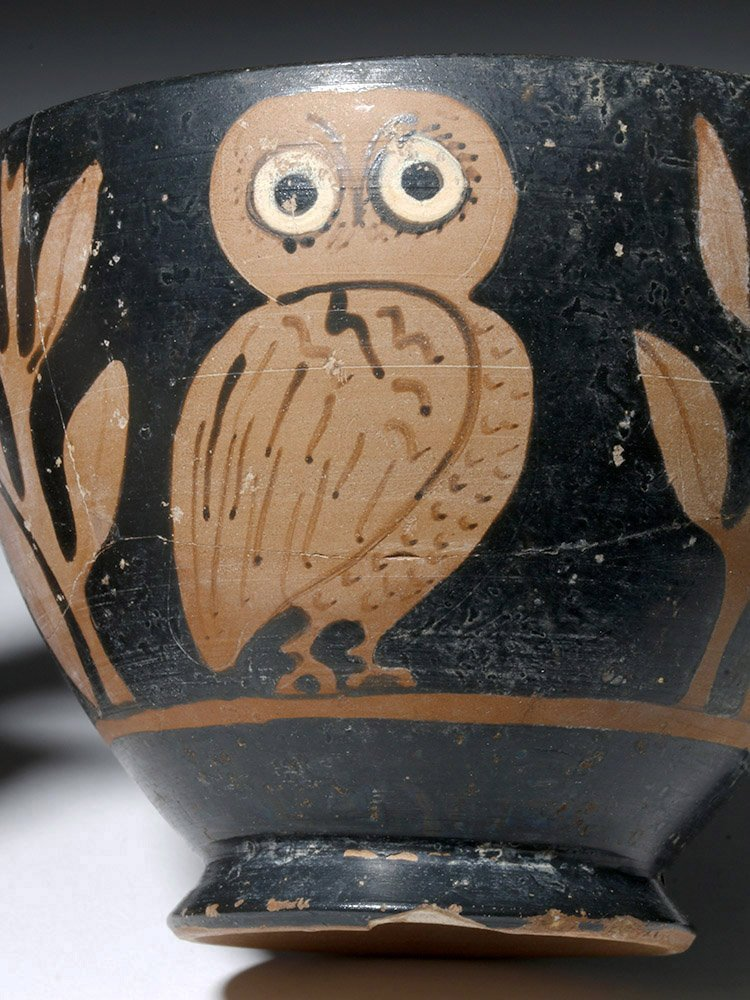 Greek Attic Red-Figure Owl Skyphos - 2