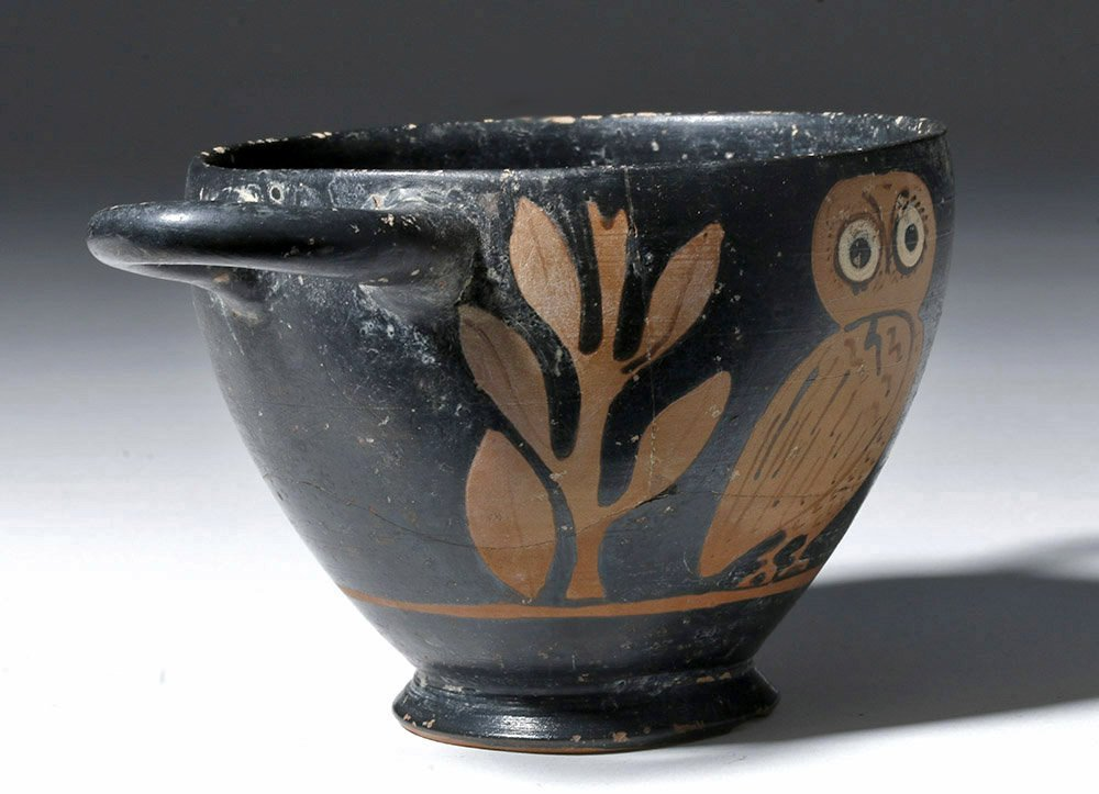 Greek Attic Red-Figure Owl Skyphos - 4