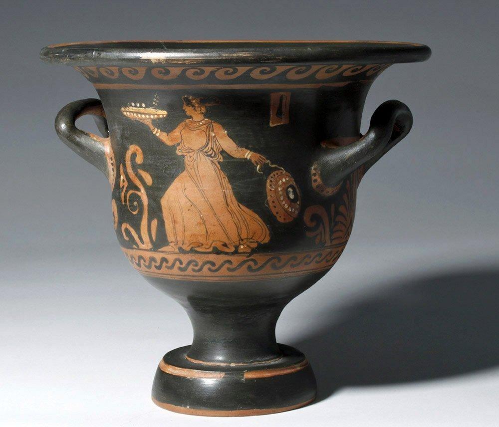 Greek Paestum Red-Figure Pottery Bell Krater