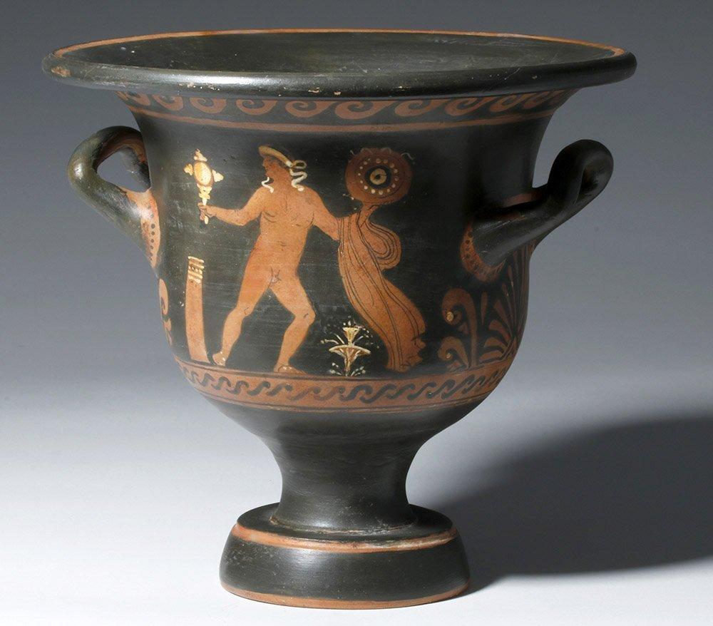 Greek Paestum Red-Figure Pottery Bell Krater - 3