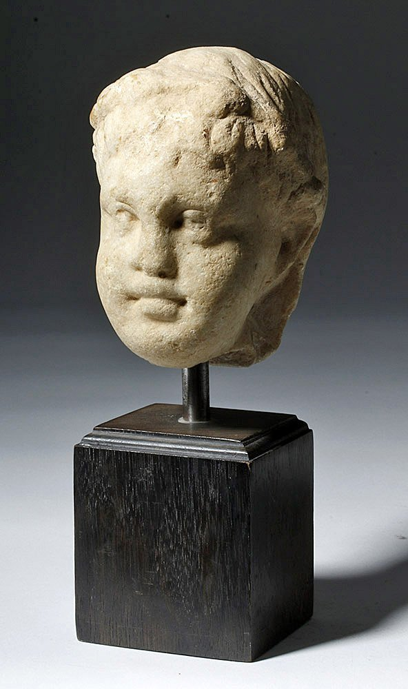 Adorable Roman Marble Head of a Child, ex-Arnovick