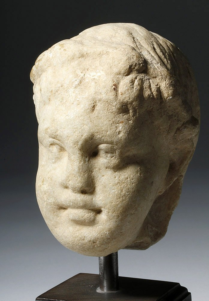 Adorable Roman Marble Head of a Child, ex-Arnovick - 5