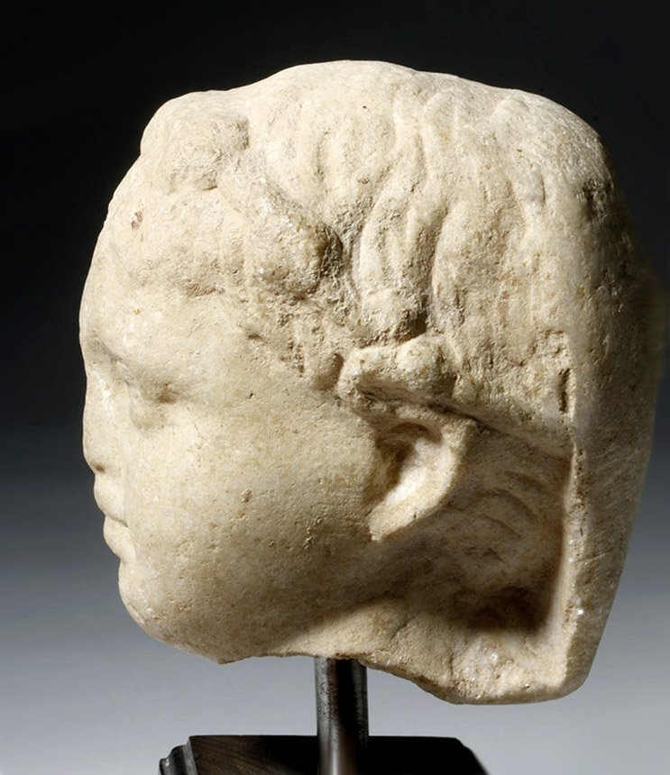 Adorable Roman Marble Head of a Child, ex-Arnovick - 6