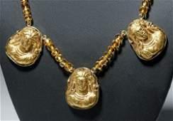Citrine Necklace w 3 Roman 18K Gold Appliques