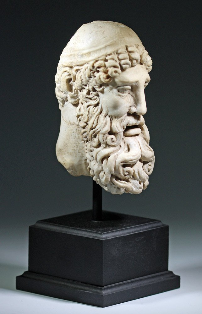 Very Fine Ancient Roman Carved Marble Head of Jupiter