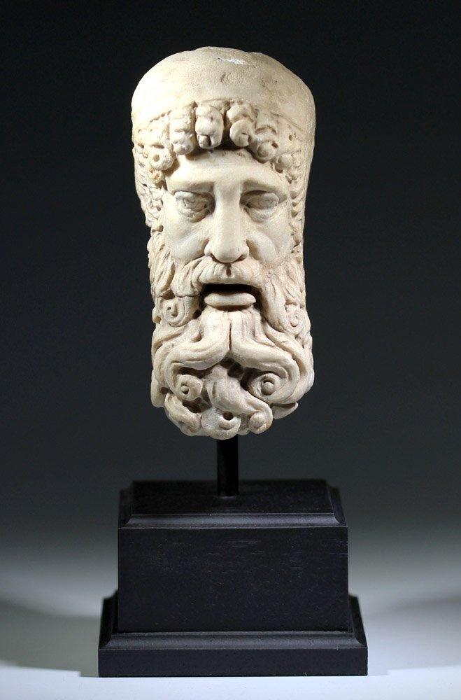 Very Fine Ancient Roman Carved Marble Head of Jupiter - 2