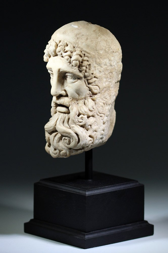 Very Fine Ancient Roman Carved Marble Head of Jupiter - 3