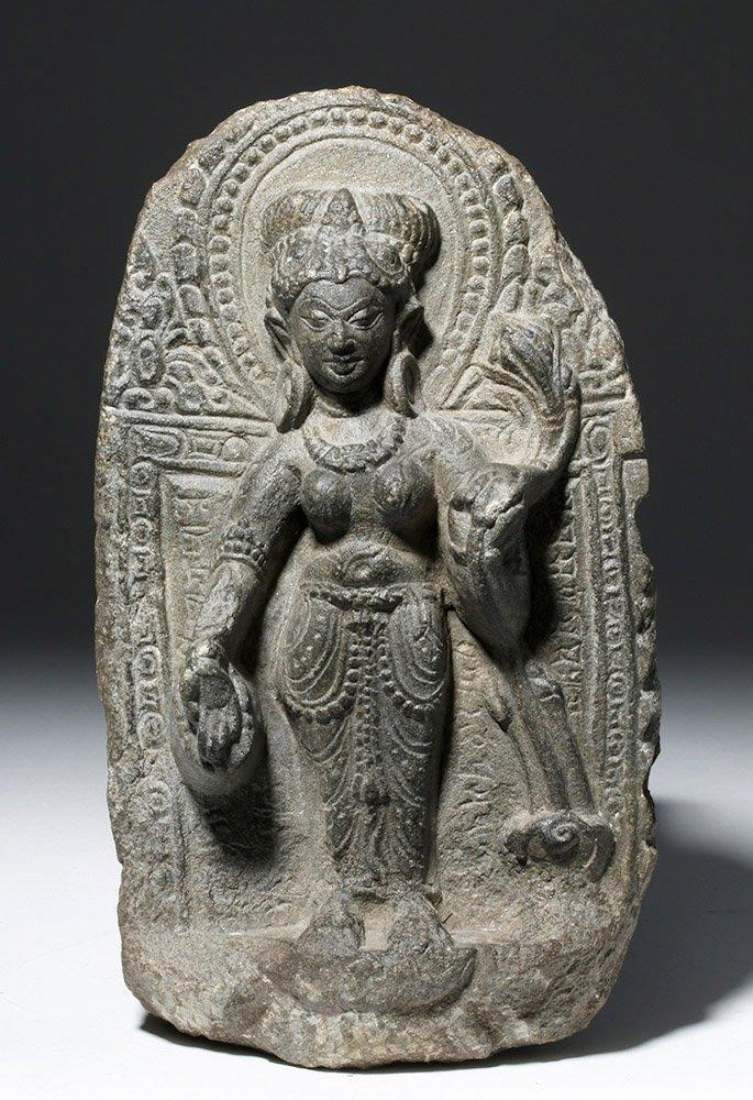 Indian Blackstone Pala Panel with Tara Bodhisattva