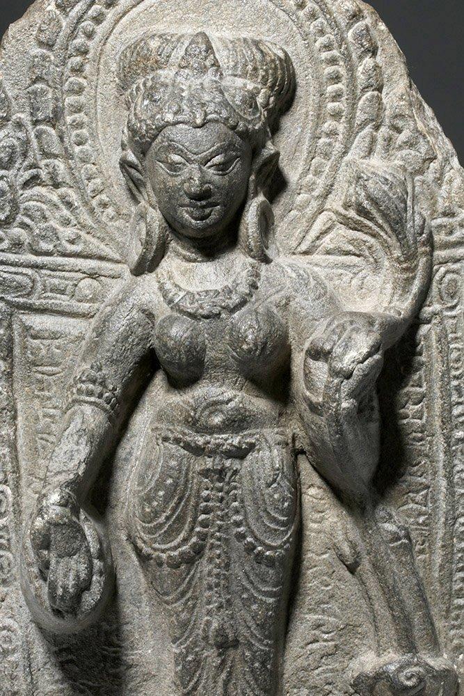 Indian Blackstone Pala Panel with Tara Bodhisattva - 2