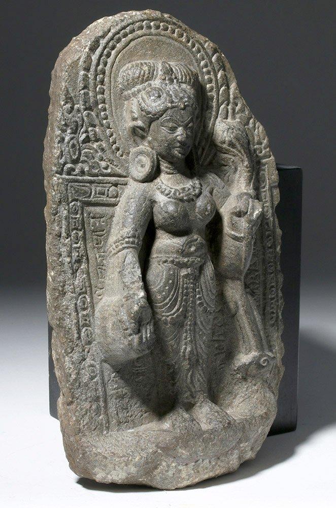 Indian Blackstone Pala Panel with Tara Bodhisattva - 5