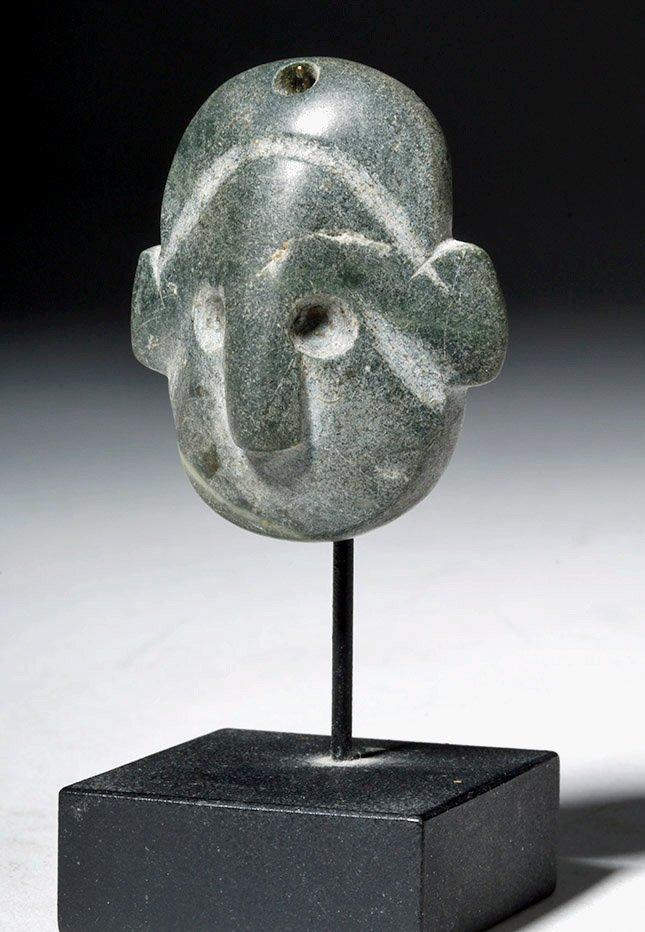 Near-Miniature Colima Greenstone Maskette, ex-Arnovick - 2