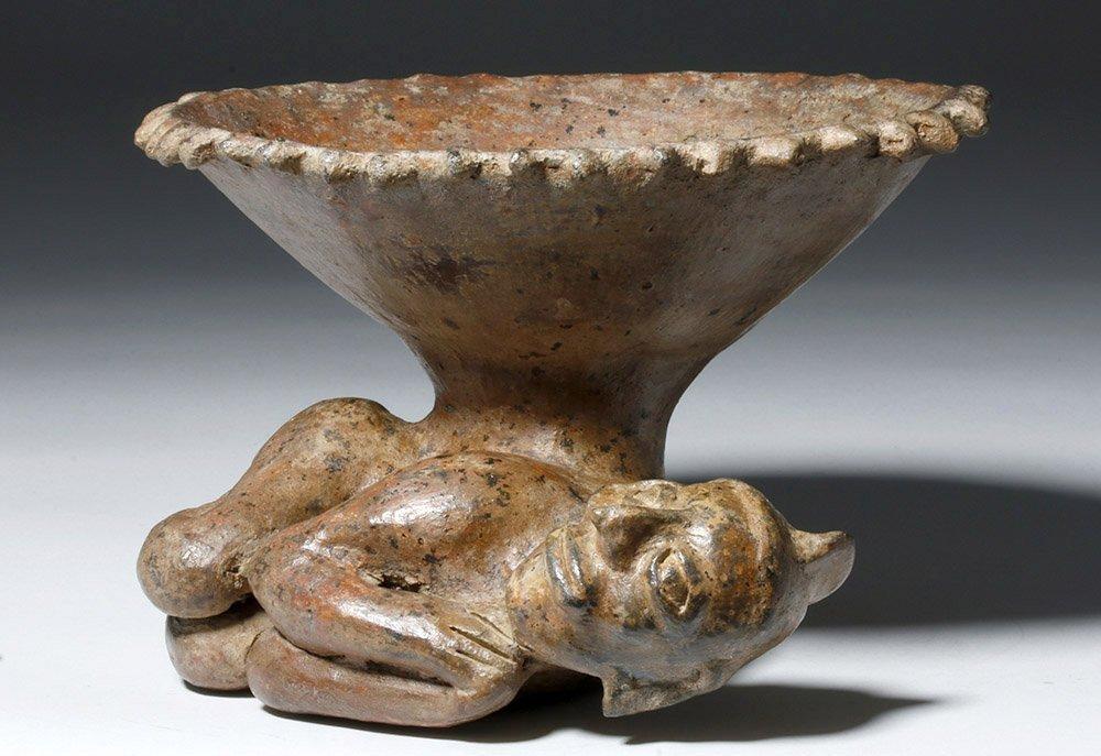 Jalisco Pottery Incensario w/ Prone Shaman Figure