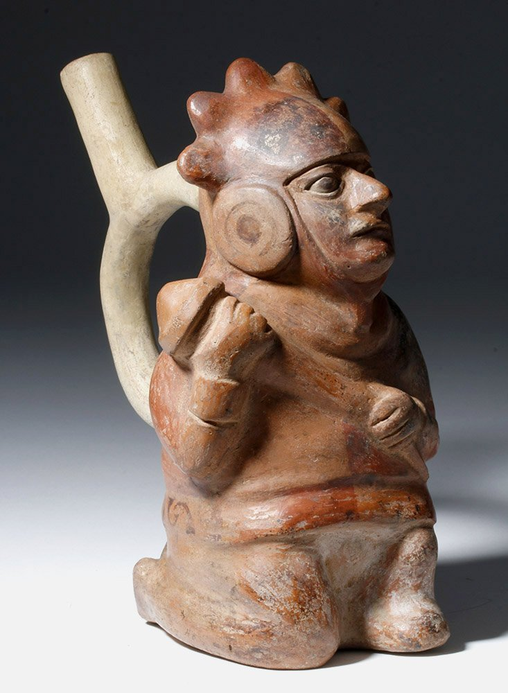Moche IV Polychrome Stirrup Vessel Decorated Warrior - 4