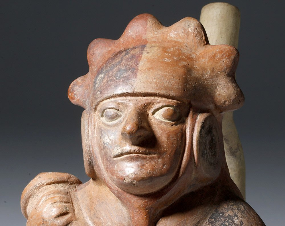 Moche IV Polychrome Stirrup Vessel Decorated Warrior - 5