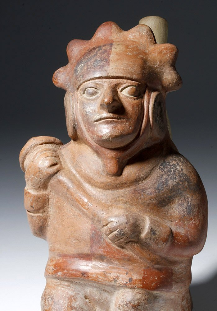 Moche IV Polychrome Stirrup Vessel Decorated Warrior - 6