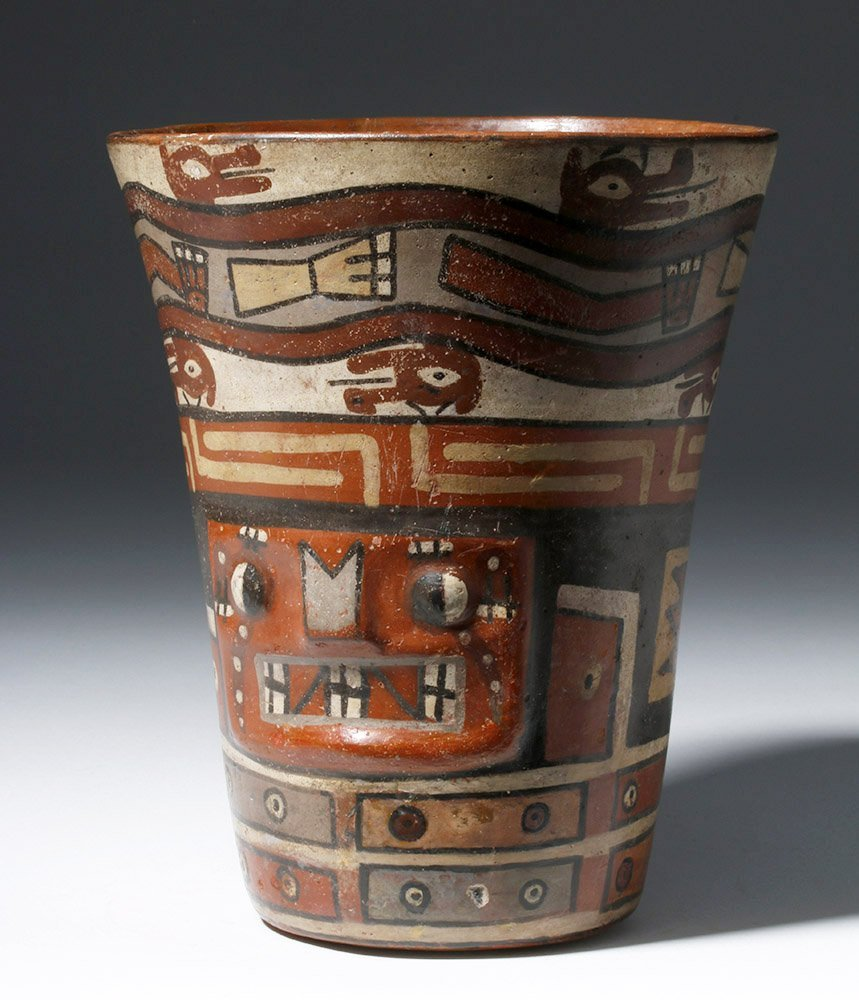 Important Wari Polychrome Pottery Human Figural Kero