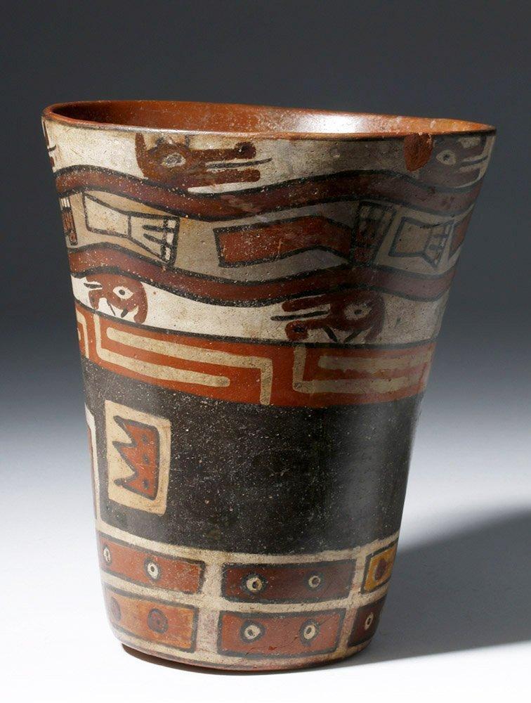Important Wari Polychrome Pottery Human Figural Kero - 2
