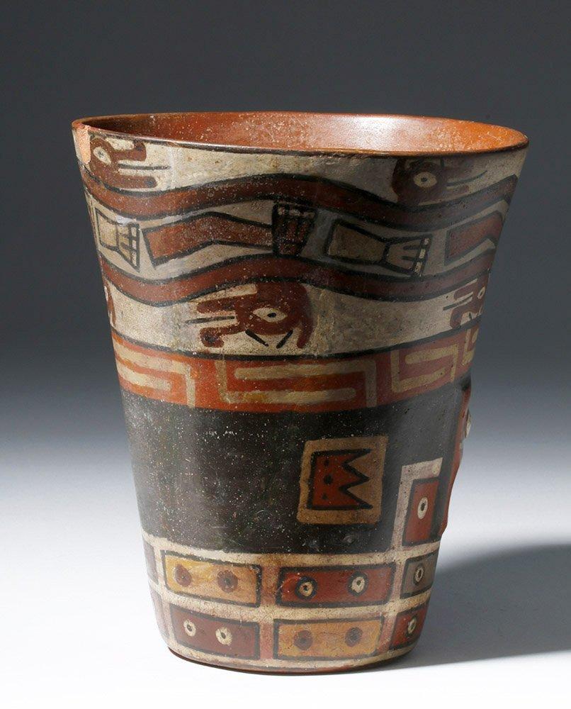 Important Wari Polychrome Pottery Human Figural Kero - 3