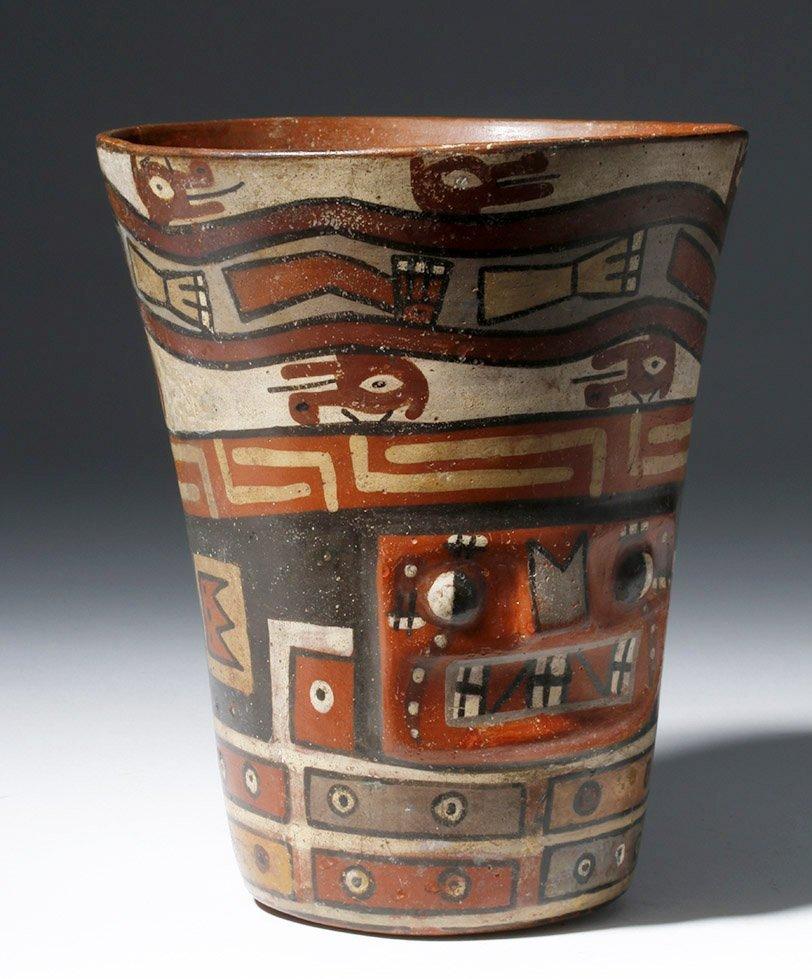Important Wari Polychrome Pottery Human Figural Kero - 4