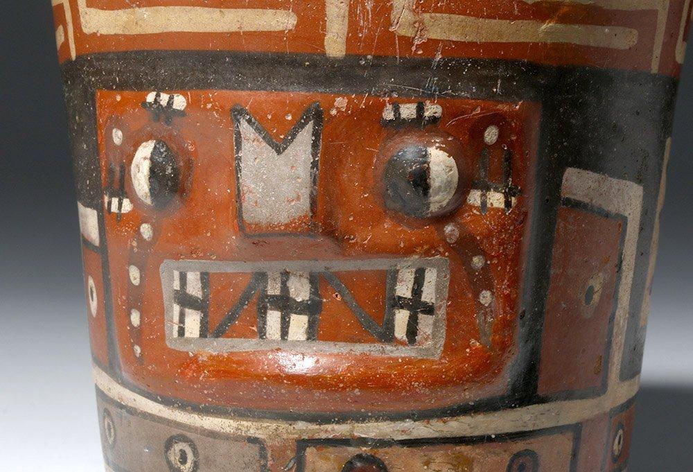 Important Wari Polychrome Pottery Human Figural Kero - 5