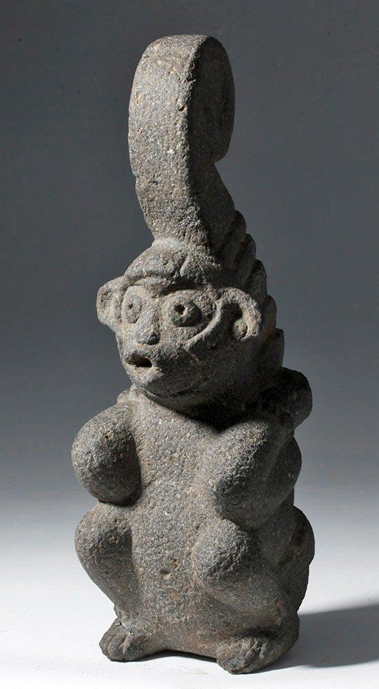Superb Mayan Carved Basalt Monkey Sculpture