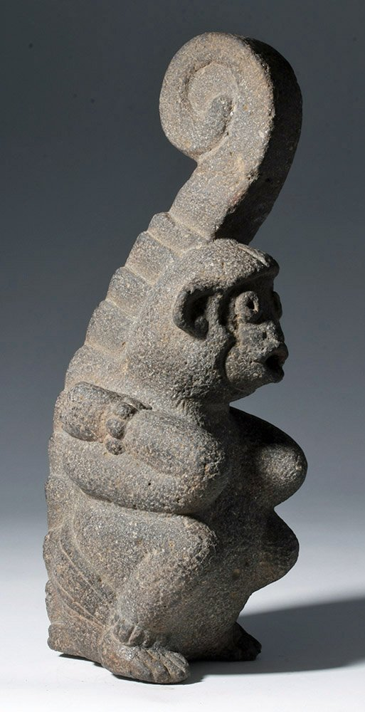 Superb Mayan Carved Basalt Monkey Sculpture - 4