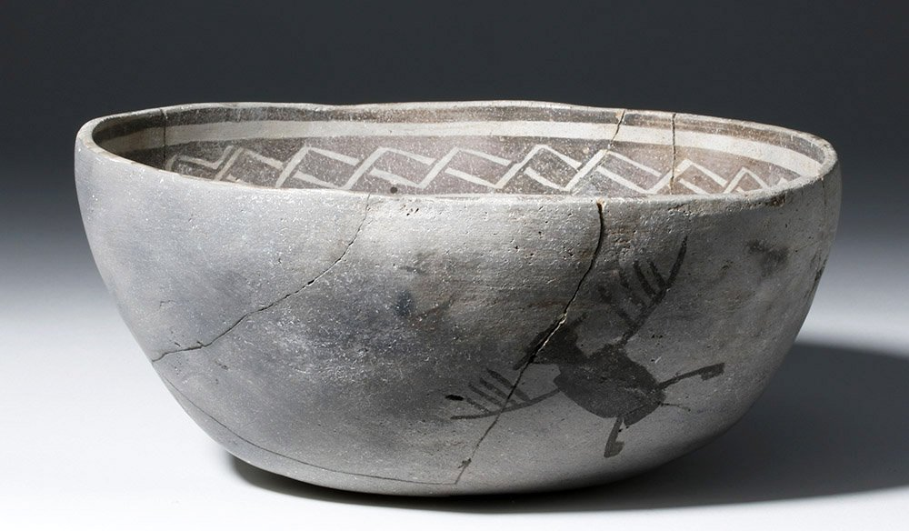 Anasazi Mogollon Springerville Black-on-White Bowl