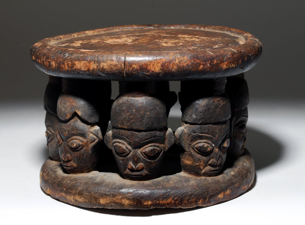 Early 20th C. African Wood Bamun Chief's Stool