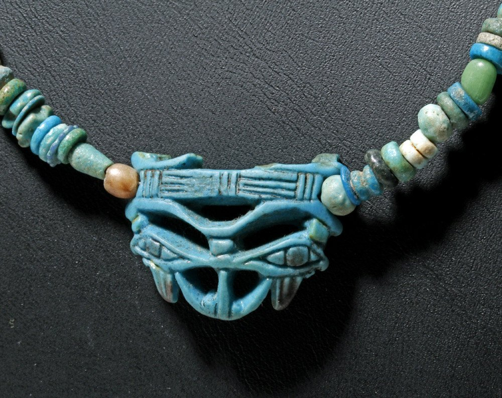 Custom Egyptian Faience Necklace w/ Wedjat Eye Amulet
